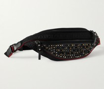 Spiked Mesh-Trimmed Leather Belt Bag