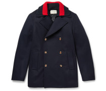 Strip-trimmed Wool Peacoat