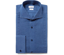 Blue Slim-fit Bib-front Chambray Tuxedo Shirt