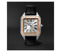Santos-Dumont Hand-Wound 33.9mm Extra Large 18-Karat Rose Gold, Steel and Alligator Watch, Ref. No. W2SA0017