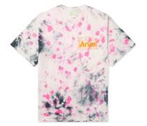 Temple Logo-Print Tie-Dyed Cotton-Jersey T-Shirt