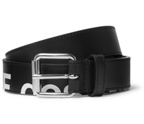 3cm Logo-Print Leather Belt
