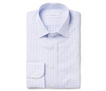 Blue Slim-fit Printed Cotton-poplin Shirt