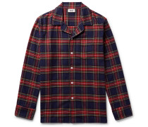 Henry Piped Checked Cotton-flannel Pyjama Shirt