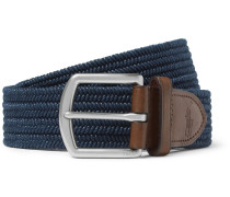 3.5cm Navy Leather-trimmed Woven Belt