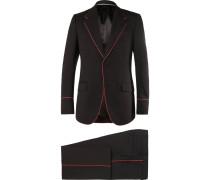 Black Slim-fit Piped Twill Tuxedo