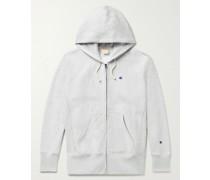 Mélange Fleece-Back Cotton-Jersey Zip-Up Hoodie