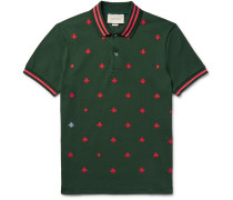 Contrast-tipped Embroidered Stretch-cotton Piqué Polo Shirt