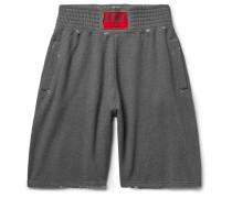 Wide-leg Fleece-back Cotton-jersey Shorts