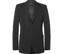 Black Bowery Slim-fit Wool-faille Blazer