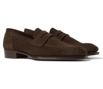 + George Cleverley Suede Penny Loafers