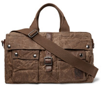 Leather-trimmed Distressed Waxed Cotton-canvas Duffle Bag