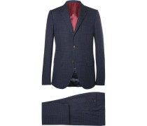 Blue Slim-fit Signoria Slim-fit Micro-spot Cotton And Wool-blend Suit