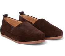 Shearling-Lined Corduroy Slippers