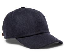 Leather-trimmed Mélange Wool Baseball Cap