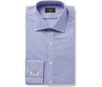 Blue Slim-fit Checked Cotton Oxford Shirt