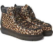 Leopard-Print Leather-Trimmed Calf Hair Boots