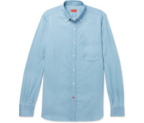 Slim-fit Button-down Collar Cotton-chambray Shirt