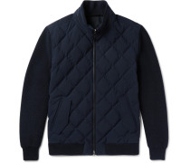 Leather-trimmed Quilted Wool And Wool-blend Down Jacket