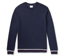 Stripe-Trimmed Fleece-Back Cotton and Cashmere-Blend Sweatshirt