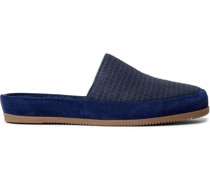 + Hamilton and Hare Suede-Trimmed Waffle-Knit Slippers