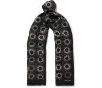 Starburst Printed Fringed Silk And Wool Scarf