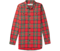 Oversized Printed Checked Cotton-blend Shirt