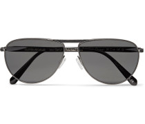 + Oliver Peoples Conduit St Aviator-style Gunmetal-tone And Acetate Polarised Sunglasses