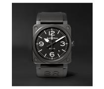 BR 03-92 Black Matte Automatic 42mm Ceramic and Rubber Watch, Ref. No. BR0392‐BL‐CE
