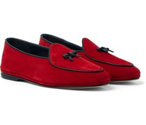Marphy Leather-Trimmed Suede Tasselled Loafers
