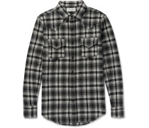 Slim-fit Checked Wool-blend Flannel Western Shirt