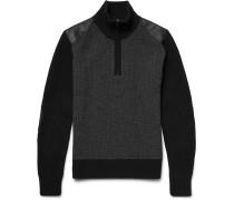 Eyston Leather-trimmed Merino Wool Half-zip Sweater