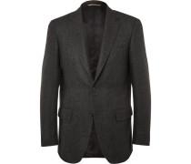 Charcoal Slim-fit Herringbone Wool And Cashmere-blend Blazer