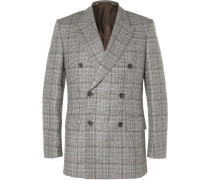 Grey Slim-fit Double-breasted Checked Wool Suit Jacket