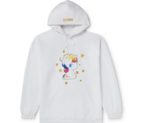 Oversized Glittered Printed Fleece-Back Cotton-Blend Jersey Hoodie