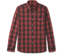 Buffalo-checked Slub Cotton Shirt