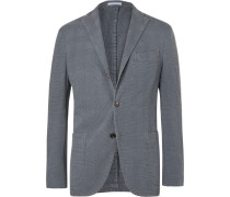 Slate-blue Unstructured Prince Of Wales Checked Stretch-cotton Blazer