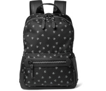 Spider-print Leather-trimmed Twill Backpack
