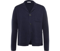 Blue Knitted Cotton And Cashmere-blend Blazer