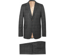 Slim-Fit Embroidered Prince of Wales Checked Wool Suit