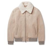 Slim-Fit Shearling-Trimmed Suede Bomber Jacket