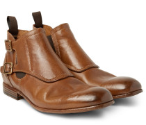Washed-leather Monk-strap Boots