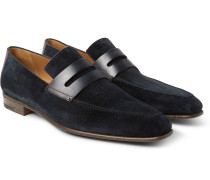 Andy Polished Leather-trimmed Suede Loafers