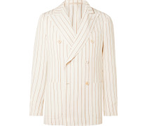 Ivory Monroe Unstructured Double-Breasted Striped Hopsack Suit Jacket