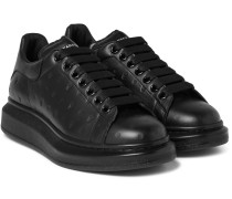 Exaggerated-sole Embossed Leather Sneakers