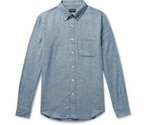 Slim-Fit Button-Down Collar Puppytooth Cotton-Jaspe Shirt