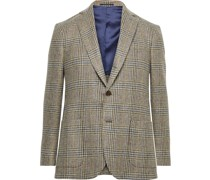 Slim-Fit Prince of Wales Checked Wool Blazer