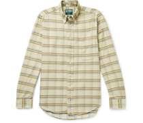 Slim-Fit Button-Down Collar Checked Cotton-Corduroy Shirt