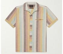 Striped Camp-Collar Cotton-Voile Shirt