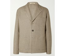 Baglietto Checked Wool, Linen and Cotton-Blend Blazer